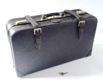 Vintage Black Cowhide Leather Suitcase • Mid Century Leather Suitcase • Vintage Suitcase with Key