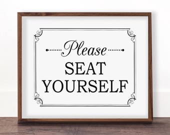 Funny Bathroom Art, Please Seat Yourself Wall Art, Bathroom Wall Decor, Funny Bathroom Printable, Bathroom Art, Toilet Sign, Seat Yourself