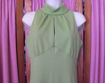 Size Small Vintage Green Maxi Dress with Ruffle Hem