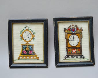 2 Vintage Small Needlepoint Frames . Antique Clocks . Framed Needle Point Pictures.