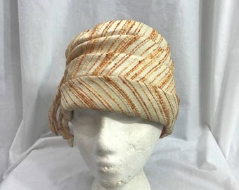 Vintage 60s Orange Mod Boucle Turban Hat
