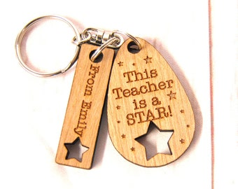 End of term Gift ~ This teacher is a star~ End of term gift ~ Teacher/class room assistant/teaching assistant ~ Oak, Cherry or Ash