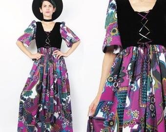 25% off Summer SALE 40 Percent OFF SALE 70s Hippie Floral Maxi Dress Peasant Black Velvet Empire Waist Dress Corset Lace Up Dress Short Slee