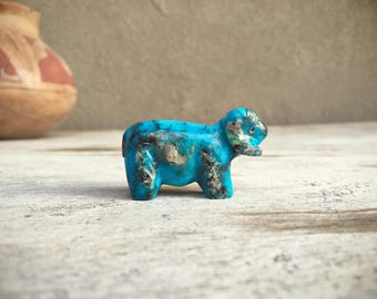 Zuni turquoise fetish ram sheep Native American animal carvings