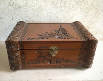 Vintage Asian wooden jewelry box hand carved red velvet lined with drawer Men's vanity box