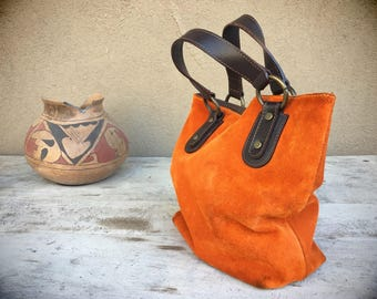 Made in Italy Small Suede Bucket Tote by Maurizio Taiuti, Vintage Leather Bag, Hippie Purse Feedbag, Leather Purse, Orange Leather Tote Bag