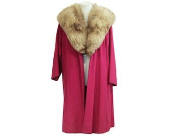 Fuchsia Wool Coat with Fox Fur Collar by Housemann's Size L / XL
