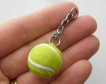1 Tennis ball pendant silver tone SP22