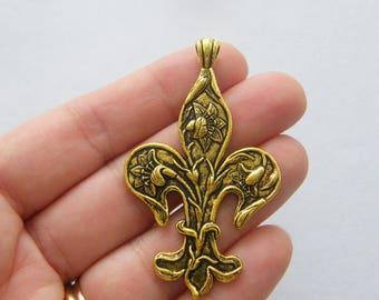 2 Fleur de lis charms antique gold tone GC295