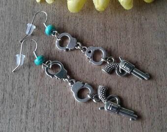 Handcuff Earrings Turquoise Earrings Western Earrings Pistol Gun Earrings Cowgirl