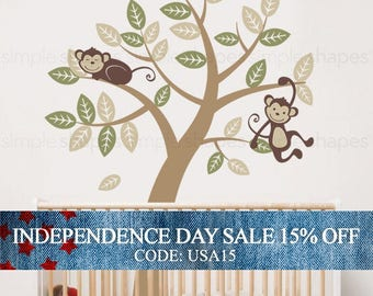 Independence Day Sale - Vinyl Wall Art Decal Sticker - Tree with Monkeys - Kids