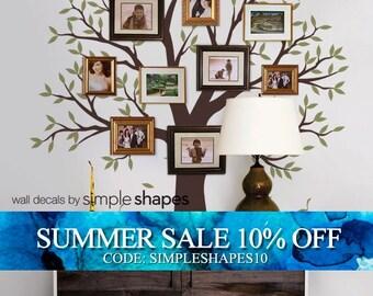 Narrow Family decal - Family Tree Decal - Family Tree Wall Decal - Two Colors - Family Room decal - tree decal