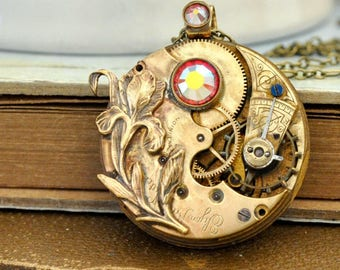 steampunk necklace LOVE TAKES TIME antique year 1900s Elgin brass vintage pocket watch with iris flower ab effect pink Swarovski rhinestone