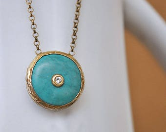 VINTAGE FIND gold gilt over sterling silver blue turquoise stone necklace with sparkle CZ stone