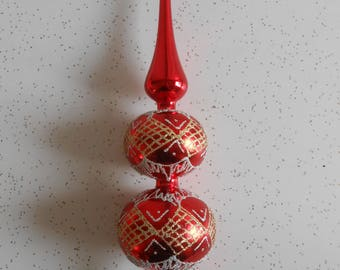 vintage hand decorated beautiful glass christmas tree topper old world tradition glass holiday tree topper red - Glass Christmas Tree Topper