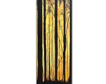 "Original Landscape Painting forest Trees Gallery Fine Art By Henry Parsinia Ready To Hang 48""x 18"""