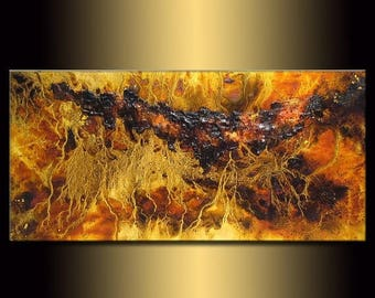 Abstract Art, Original Textured Abstract painting, Contemporary Modern Brown and yellow Fine Art by Henry Parsinia Large 48x24
