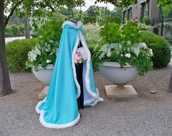 Princess Jasmine Bridal Cape 52/67-inch  Aqua-Turquoise/ Ivory Satin Wedding Cloak Reversible Hooded with Fur Trim Handmade in USA