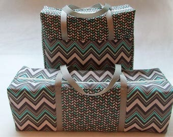 Mint & Gray Chevron Carrying Case for the Cricut Explore Air ( 1,2,3) /  Silhouette Cameo 3 / Brother ScanNCut / Zippered Accessory Bag