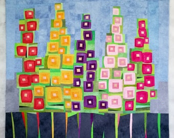 Art quilt, abstract quilt, wall hanging, wall decor- Hollyhocks Behind the Fence
