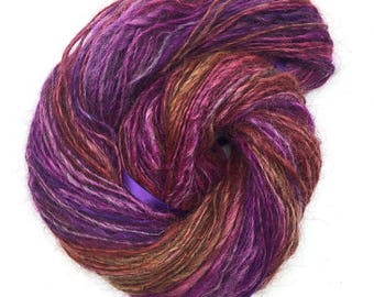 Handspun alpaca yarn, hand dyed - 100 yards, 2.15 ounces/ 61 grams