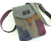 Recycled Crossbody Purse Upcycled Purse iPhone Purse pocket,Recycled  Purse  Wool Purse  Womens Handbag, Tote bag, Ready to Ship