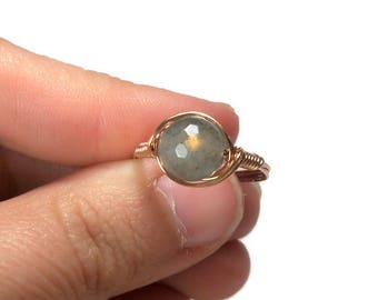 LG Faceted Labradorite 14k Rose Gold Fill Wire Wrapped Stone Ring
