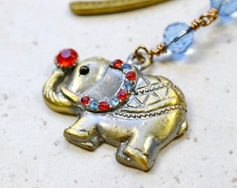 Elephant Bookmark, Jeweled Ellie Bronze BookMarker Crystals, Antiqued Brass Beaded Book Marker