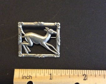 Vintage Sterling Silver Deer Pin Brooch