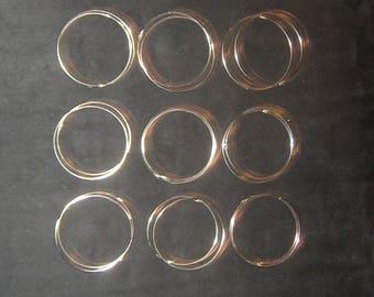 Wholesale Lot Of 9 New Pairs of 925 Sterling Silver 45MM X 1MM Endless Hoop Earrings