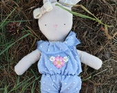 baby bunny cloth doll, organic cotton doll,heirloom doll, vintage inspired, blue overalls, white wool head bow,  vintage flower embroidery