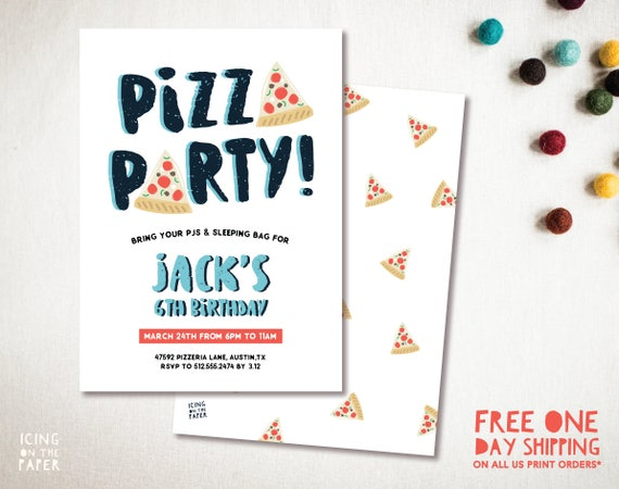 PIZZA PARTY Invitation Digital Custom Printable