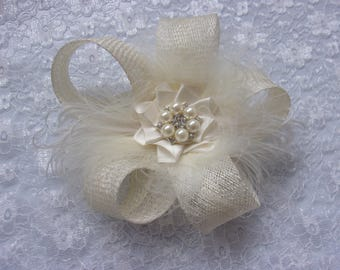 Pale Ivory Sinamay Bow Loop Fluffy Ostrich Feather & Pearl Stud Bridal Mini Fascinator Hair Clip Wedding Headpiece- Made to Order