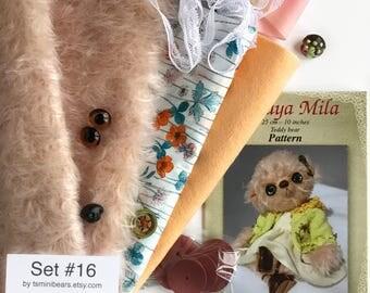 German mohair fabric, glass eyes, cotton batiste fabric liberty of london tana lawn, silk ribbon french lace, teddy bear pattern, set #16