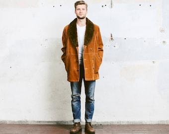 Mens 70s Faux Fur Coat . 1970s Velvet Shearling Sheepskin Brown Jacket Faux Fur Collar Winter Overcoat Outerwear . size Extra Large XL