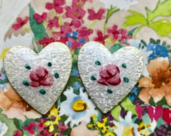 Vintage Guilloche hearts,Enamel Hearts,heart Cabochons,Rose Flowersenameled hearts,Pink shabby Flower Heart Large. #1594B