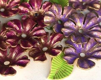 Shabby chic metal flowers, Vintage Enamel Flower Beads, vintage flowers, Enamel beads, stackable beads, Steampunk Flowers,Boho Flowers #5570