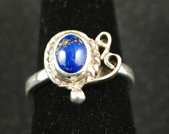 Lapis and Sterling Silver Ring Size 6 1/4