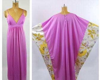 1970s Kaftan - 70s Lounge set - Slip and Kaftan - Kimono Sleeves // Colorful // Floral Lounge wear Hostess Set