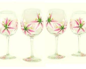 4 Hand-Painted Glasses - Pink Stargazer Lilies - Summer Hostess Housewarming Gift Wedding Gift