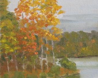 "Tree painting, plein air oil painting, landscape, autumn, 5"" x 7"""