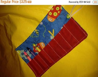 Sale Late summer SALE Crayon roll Beetle Boy BugsMore crayon rolls in my shop