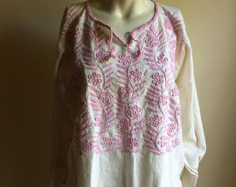70s Cotton Mexican White Tunic • Embroidered Tunic