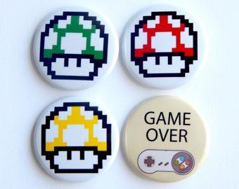 "Video Game Pins, Gamer Girl Mario Mushroom 1.5"" Backpack Button, Fridge Magnet, Stocking Stuffer, Locker Decoration, Cheap Gift Idea"