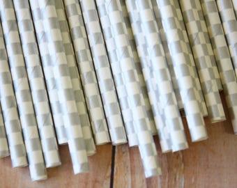 Metallic SILVER Checkers paper straws