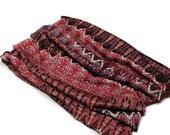 Dark Red Boho Head Hugger, Red Print Bandeau Headband, Headwrap Bandeau, Extra Wide Headband (#1609) S M L X