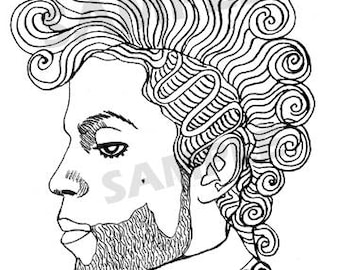 Prince Curly Mohawk Digital Downloadable Coloring Page