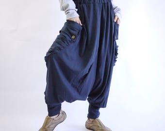 Funky Harem Boho Drop Crotch Dark Navy Blue Cotton Jersey Pants With Roomy Draped Pleated Pockets And Elastic Waist