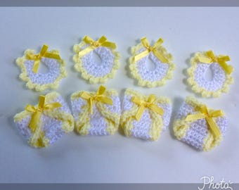 Nice Crochet Baby Shower Favors, Bibs And Diaper Cover, Mini Baby Favors, Yellow  Baby