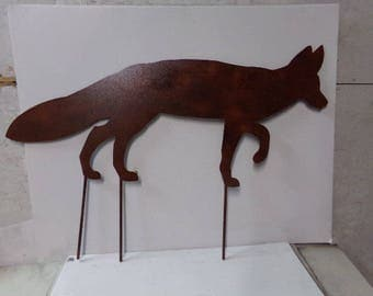 Fox XLarge Address Sign with Stakes Metal Yard Art Wildlife Silhouette